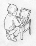Sketch of a kid using computer. Hand drawn pencil sketch of a little child using laptop computer Royalty Free Stock Photography