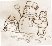 Sketch- kids building snowman Stock Image