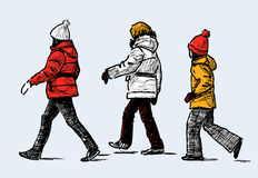 Sketch of the kids on a walk Royalty Free Stock Image
