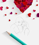 Sketch of kissing couple with pencil Royalty Free Stock Photos