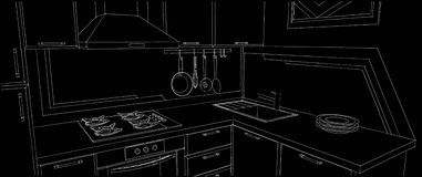 Sketch of kitchen corner with sink, wall pot rack, fume hood, cooktop and geometry painting on the wall. Royalty Free Stock Photos