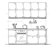 Sketch of kitchen furniture on a white background. Vector illustration of kitchen in a sketch style. Sketch of kitchen furniture on a white background. Vector Royalty Free Stock Photo