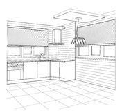 Sketch of a kitchen interior Royalty Free Stock Images