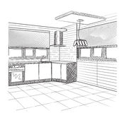 Sketch of a kitchen interior Royalty Free Stock Photography