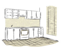 Sketch of kitchen interior Royalty Free Stock Images