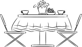 Sketch of kitchen table and chairs Royalty Free Stock Photo