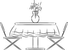 Sketch of kitchen table and chairs Stock Images