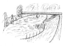 Sketch of a lake Stock Images