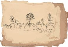 Sketch of landscape Royalty Free Stock Photography