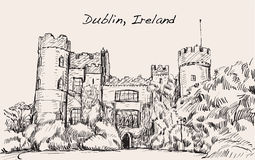 Sketch landscape of Dublin city, Ireland, Malahide castle, free Royalty Free Stock Images