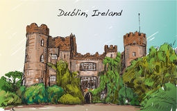 Sketch landscape of Dublin city, Ireland, Malahide castle, free Royalty Free Stock Image