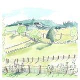 Sketch landscape in France Stock Images