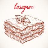 Sketch lasagna Royalty Free Stock Photography