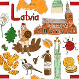 Sketch Latvia seamless pattern Royalty Free Stock Images
