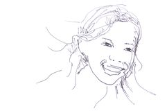 Sketch: laughing girl Stock Photo