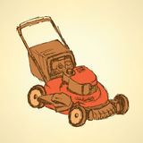 Sketch lawn mover in vintage style Royalty Free Stock Photo