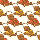 Sketch lawn mover in vintage style Royalty Free Stock Images