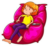 A sketch of a lazy girl at the couch Royalty Free Stock Images