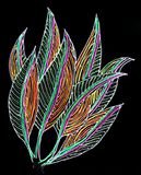 Sketch of leaves on black paper. Stock Images