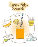 Sketch Lemon Melon smoothie recipe. Hand drawn sketch illustration with Lemon Melon smoothie. Including recipe and ingredients for restaurant or cafe. Healthy Stock Images