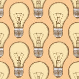 Sketch light bulb in vintage style Stock Photography
