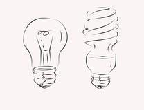Sketch of light bulbs Royalty Free Stock Photo