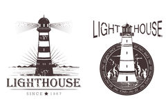 Sketch of lighthouse at port or beacon. Sketch of lighthouse for ship night navigation, sea or ocean lamp near mountains sign, seashore light beam guidance vector illustration