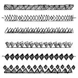 Sketch line border set. Hand-drawn line border set Stock Image