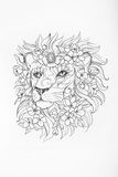 Sketch of lion`s head in flowers on white background. Royalty Free Stock Images