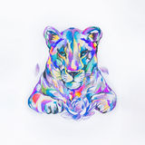 Sketch of lion in the style watercolors on white background. Royalty Free Stock Photos