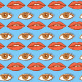 Sketch lips and eye in vintage style Royalty Free Stock Photo