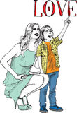 Sketch of little boy having fun with her beautiful mother Royalty Free Stock Image