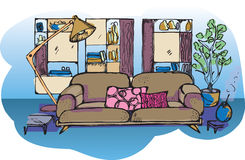 Sketch of living room Royalty Free Stock Images