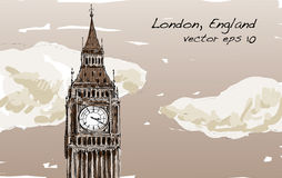 Sketch of London, England, show Big Ben with clouds in Sepia tone Stock Images