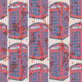 Sketch London phone cabin,  seamless pattern Royalty Free Stock Photography