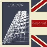 Graphic illustration with decorative architecture 96. Sketch of London. Vector illustration Royalty Free Stock Images