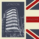Graphic illustration with decorative architecture 93. Sketch of London. Vector illustration stock illustration