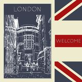 Graphic illustration with decorative architecture 105. Sketch of London. Vector illustration royalty free illustration