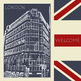 Graphic illustration with decorative architecture 102. Sketch of London. Vector illustration Stock Image