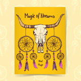 Sketch longhorn and dream catcher Stock Image