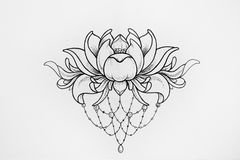 Sketch of a lotus on white background. Royalty Free Stock Images