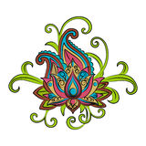 Sketch of a lotus on a white background.Vector ornamental Lotus, ethnic zentangled henna tattoo Royalty Free Stock Photo