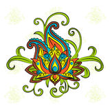 Sketch of a lotus on a white background.Vector ornamental Lotus, ethnic zentangled henna tattoo Royalty Free Stock Photography