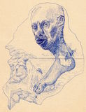 Sketch of a mad man dream. Blue sketch of a mad man head joined with bare foot against sea, rocky coast, wasp and spiderweb. Ballpoint pen on paper Royalty Free Stock Photography
