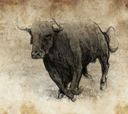 Sketch made with digital tablet, bull running Stock Image
