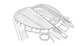 Sketch of the main stadium in Sochi. Hand drawn sketch of the main stadium in Sochi Royalty Free Stock Images
