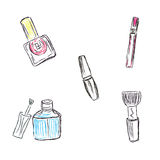 Sketch, Makeup, products, cosmetics, vector illustration Stock Photography