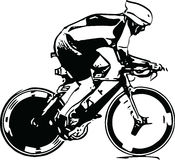 Sketch of male on a bicycle Royalty Free Stock Photography
