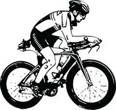 Sketch of male on a bicycle Stock Photos