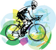 Sketch of male on a bicycle Stock Photography